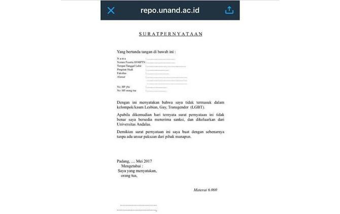 Form Syarat Pendaftaran Bebas LGBT Universitas Andalas yang telah dicabut. Foto : Jawapos