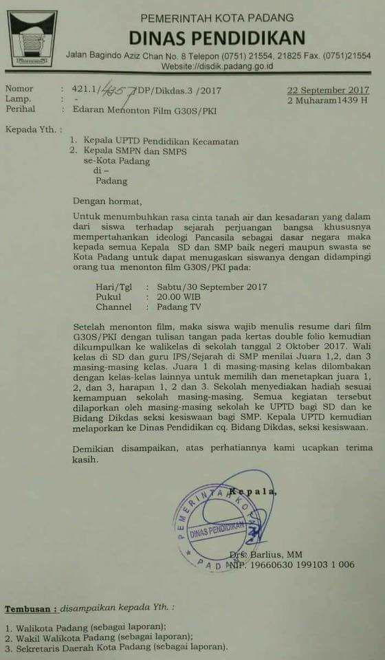 Surat edaran Dinas Pendidikan Kota Padang terkait menonton film G30S/PKI bagi para pelajar.