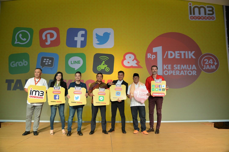 Peluncurkan Program Tanpa Kuota untuk Aplikasi Sehari-hari dan Nelpon Rp.1 / Detik oleh Indosat Ooredoo. Foto : Indosat