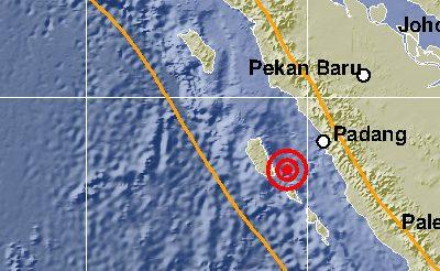 Gempa kedua terjadi pada pukul 21.48 WIB dengan kekuatan 3,1 SR dengan kedalaman 10 kilometer dan berpusat pada 88 kilometer Tenggara Kepulauan Mentawai, Sumatera Barat. Foto : Istimewa